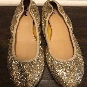 J Crew Lula Gold Glitter Ballet Flats